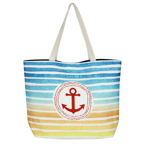 TPO MB0127 canvas tote bag stripe anchor navy