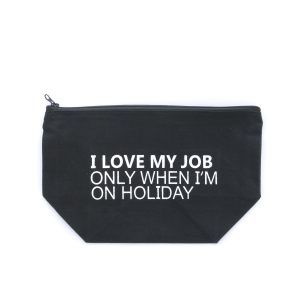 cosmetic bag MBL-JOB-BLACK canvas material with funny witty phrase. Black