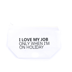 cosmetic bag MBL-JOB-WHITE canvas material with funny witty phrase. White