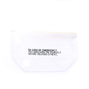 cosmetic bag MBL-MASCARA-WHITE canvas material with funny witty phrase. White