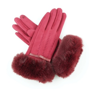 Winter Gloves 019 Touch Screen ribbon fur wave red