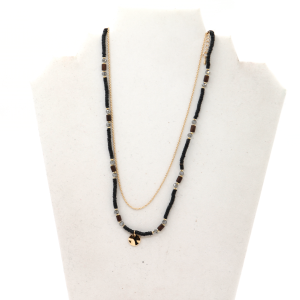 Necklace 2256 01 City black bead chain necklace