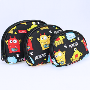 luggage 1003 3pc oval cosmetic pouch monster black