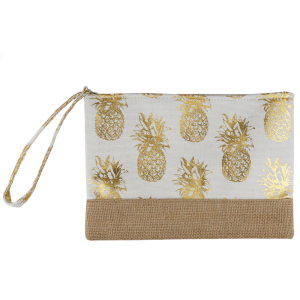 TPO MP0028 burlap canvas cosmetic case pineapple white