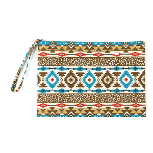 TPO MP0121 canvas cosmetic case geometric leopard brown turquoise
