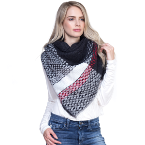 Scarf 097g TPO Large Square Scarf black white red