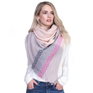 Scarf 101e TPO Large Square Scarf pink gray