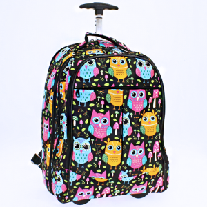 luggage 6018 rolling computer backpack owl mushroom black