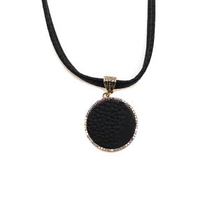 Necklace 130 99 Empire leather sequin glitter round shape rhinestone black