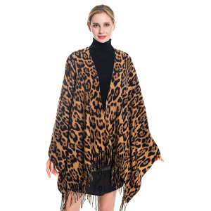 Poncho 531a 78 Odiva leopard print fringe open front brown