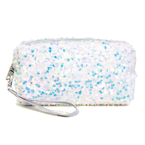 LOF PCH156 cosmetic pouch sequin white