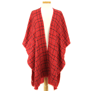 Shawl 426c 34 textured silver accents red