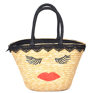 3AM PP 6621 straw tote face black