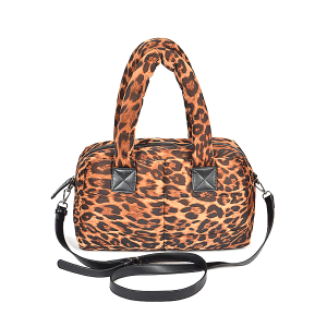 3AM PP6915 leopard print satchel brown