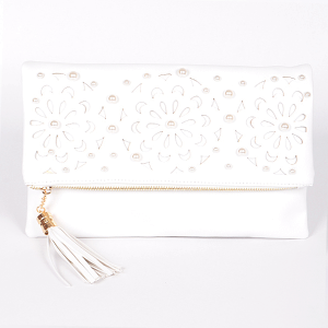 3AM PPC 6025 laser cut flower fold over clutch white