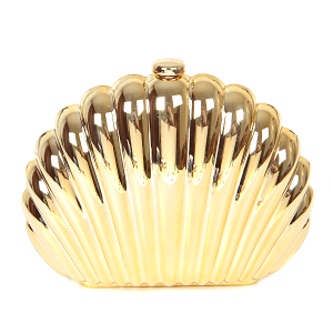 3AM PPC6187 Sea Shell metallic clutch gold