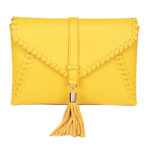3AM PPC 6562 envelope clutch western braid yellow