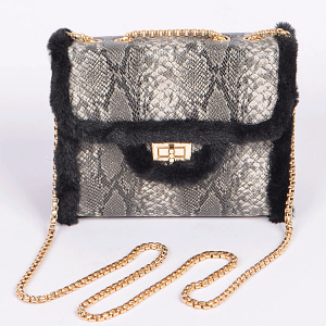 3AM PPC6808 snake skin fur crossbody black