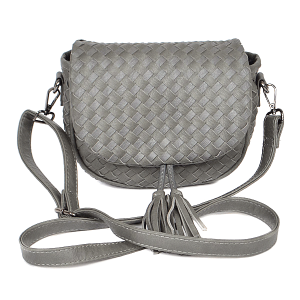 3AM PPC6846 crossbody braided tassel dark gray