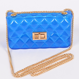 3AM PPC6942 fold over flap semi transparent quilted crossbody cobalt blue