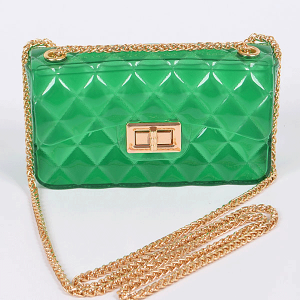 3AM PPC6942 fold over flap semi transparent quilted crossbody green