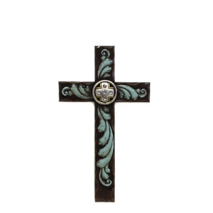 RT ra 8410 wooden cross brown teal