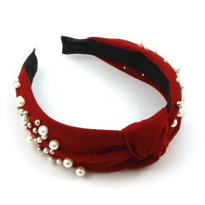 Headband 117d 65 Core fashion pearl studded knot red