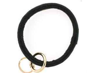Keychain 158 22 No.3 round keychain leather like croc black