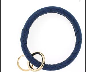 Keychain 157 22 No.3 round keychain leather like croc blue