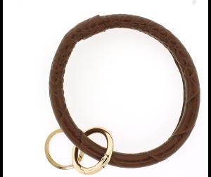 Keychain 152 22 No.3 round keychain leather like croc brown
