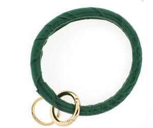 Keychain 151 22 No.3 round keychain leather like croc green