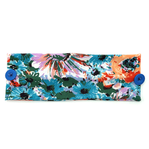 Headband 401a 30 KW floral print button headwrap blue