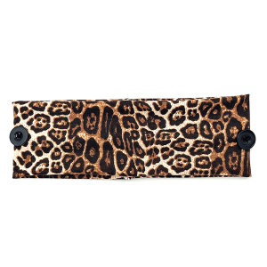 Headband 327d 30 KW leopard print button headwrap camel
