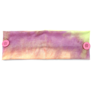 Headband 153a 30 KW tie dye print button headwrap purple