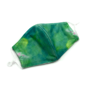 Face Mask 046c 30 KW tie dye mask with filter pocket multi green