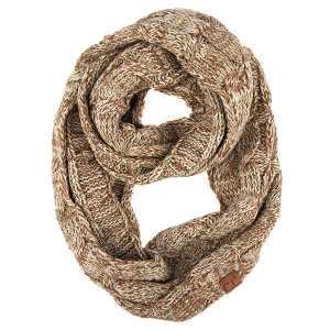 Scarf 489f 82 CC cable knit infinity taupe