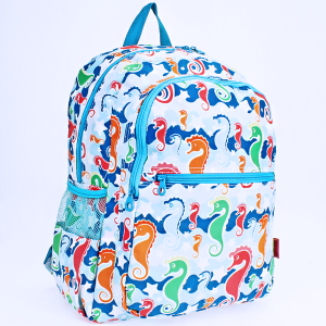 luggage 6818 multi-pocket backpack sea horse light blue turquoise trim