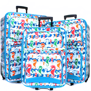 luggage 3pc rolling 9320 seahorse light blue turquoise trim
