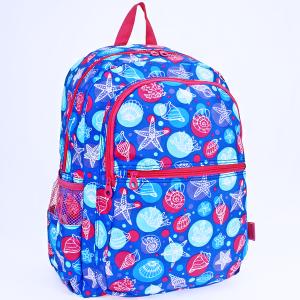 luggage 6818 multi-pocket backpack seashell royal blue fuchsia trim