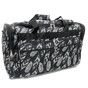 22 inch duffel bag T22-1A feather leaves black