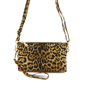 Toami TG10044 leopard crossbody clutch brown