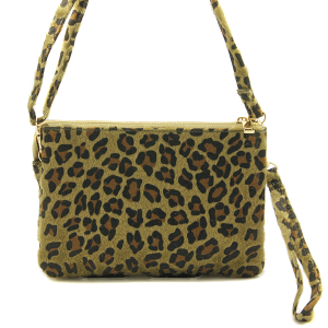 Toami TG10088 faux fur crossbody clutch leopard olive brown