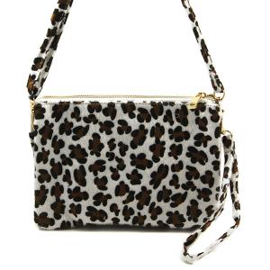 Toami TG10088 faux fur crossbody clutch leopard white brown