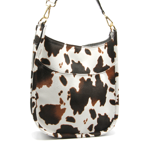 Toami TG10171 front pocket crossbody bag leatherette cow beige brown