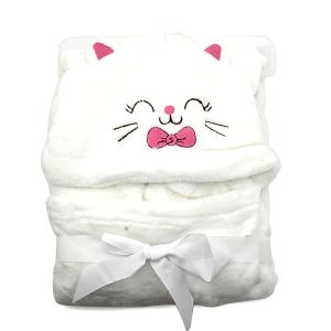 Hooded baby towel TW-1003 bear cat white