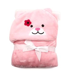 Hooded baby towel TW-1004 bear pink