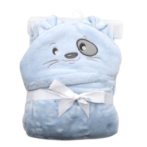 Hooded baby towel TW-1004 dog light blue