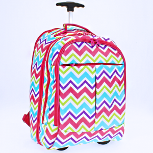 luggage 6018 rolling computer backpack WCV chevron fuchsia multi