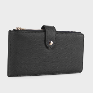 Isabelle WS1190 bifold vegan leather wallet black