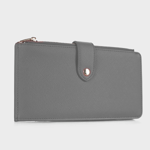 Isabelle WS1190 bifold vegan leather wallet gray